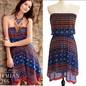 Anthropologie Maeve Boho Strapless Dress Large